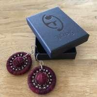 Red Dorset Button Beaded Earrings thumbnail