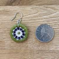 Suffragette Coloured Dorset Button Beaded Earrings thumbnail