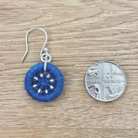 Teal Dorset Button Beaded Earrings thumbnail