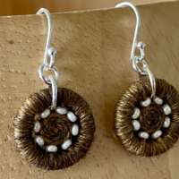 Gold Coloured Dorset Button Beaded Earrings thumbnail