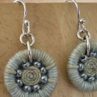 Green and Blue Dorset Button Beaded Earrings thumbnail