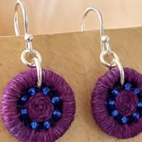 Pink and Indigo Dorset Button Beaded Earrings thumbnail