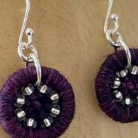 Purple Dorset Button Beaded Earrings thumbnail