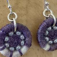 Purple and White Dorset Button Beaded Earrings thumbnail