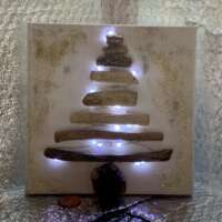 Christmas Tree Driftwood Picture with Fairy Lights thumbnail