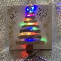 Christmas Tree Driftwood Picture with Coloured Lights thumbnail