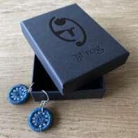 Deep Turquoise Dorset Button Earrings thumbnail