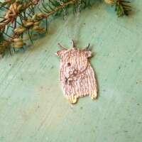 Silver Highland Cow Pendant with Gemstone Eye thumbnail