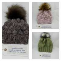 Hand Knitted Pale Green Wool & Alpaca Woolie Hat thumbnail