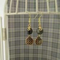 Celtic Earrings with Golden Obsidian thumbnail