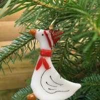 Christmas Goose Glass Decoration thumbnail