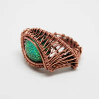 Antiqued Copper and Dichroic Glass Ring thumbnail