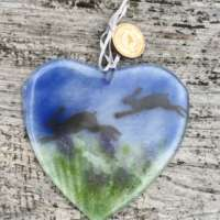 Fused Glass Heart with Hopping Hares thumbnail