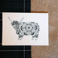 Highland Cow Mandala Card thumbnail