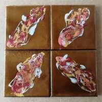Splashes of Colour on Gold Coaster Set of 4 thumbnail