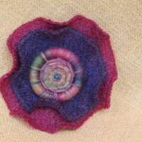Harris Tweed Brooch - Purple/Red thumbnail