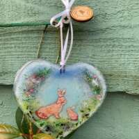 Fused Glass Spring Hares Heart Hanging Decoration thumbnail