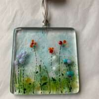 Fused Glass Wild Flowers Hanging Decoration thumbnail