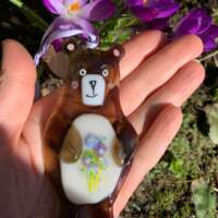 Fused Glass Say it with Flowers Bear Hanging Decoration thumbnail