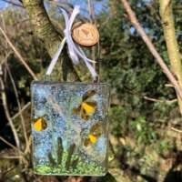 Fused Glass Daffodils Hanging Decoration thumbnail
