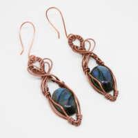Wire Wrapped Labradorite Earrings thumbnail