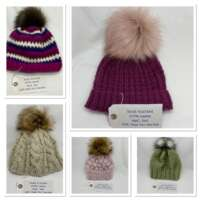Hand Knitted Cream Wool Hat in Cable Pattern thumbnail