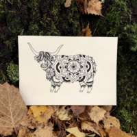 Highland Cow Mandala Card thumbnail