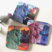 Set of Nessie at Urquhart Castle Coasters thumbnail