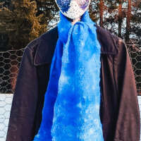 Blue and White Wool and Silk Cobweb Scarf thumbnail