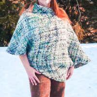 Asymmetrical Poncho Sweater thumbnail