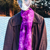 Purple and White Wool and Silk Cobweb Scarf thumbnail