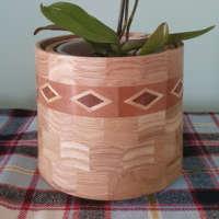 Oak Wooden Plant Pot Holder with Diamond Feature thumbnail