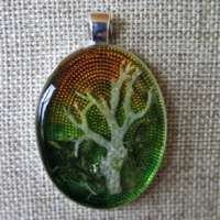 Large Oval Green Pendant with Lichen thumbnail