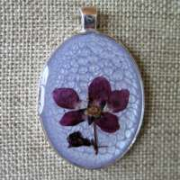 Large Oval Pendant in Mauve with Violet Flower thumbnail