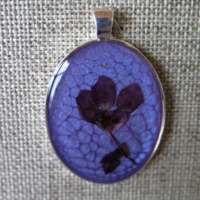 Large Oval Pendant in Purple with Violet Flower thumbnail