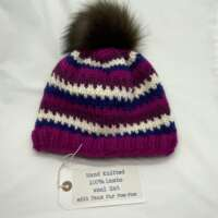 Hand Knitted Chunky Pink Blue & White Striped Wool Hat thumbnail