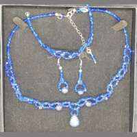 Blue Crystal and Lapis Lazuli Jewellery Set thumbnail