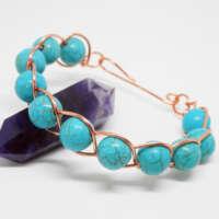 Synthetic Turquoise Beaded Bracelet thumbnail