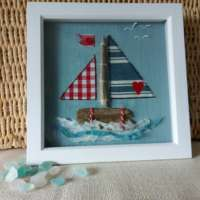 Textile Boat with Driftwood thumbnail