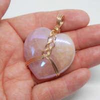 Rose Aura Quartz Heart Gemstone Pendant thumbnail