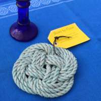 Turks Head Table Mat in Turquoise with Pink Fleck thumbnail