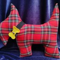 Scottie Dog Cushion with Bow thumbnail