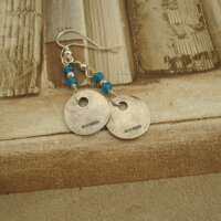 Handcrafted Silver Earrings with Blue Quartz thumbnail