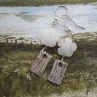 Handcrafted Silver Drop Earrings with Gemstone Flower thumbnail