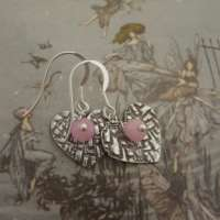 Handcrafted Silver Heart Earrings with Moonstone thumbnail