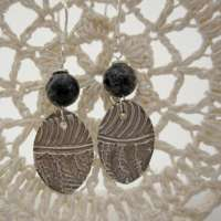 Handcrafted Silver Drop Earrings with Jasper thumbnail