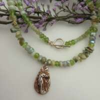 Silver Seahorse Necklace with Aventurine and Peridot thumbnail