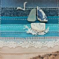 Textile Seascape with Sea Pottery Boat thumbnail