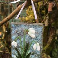 Fused Glass Snowdrops Hanging Decoration thumbnail