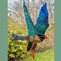 Stained Glass Peregrine Falcon Suncatcher thumbnail